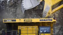 Large mining trucks haul waste rock away at the Copper Mountain Mine in Princeton, B.C. January 13, 2011. (JOHN LEHMANN/John Lehmann/The Globe and Mail)