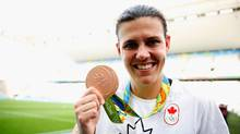 Christine Sinclair, captain of the Canadian women's soccer team, has been nominated for the FIFA women's player of the year award. (Alexandre Schneider/Getty Images)