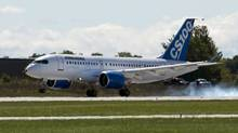 Bombardier's C-Series100 touches down after its maiden test flight at the company's facility Monday, September 16, 2013 in Mirabel, Que. (Ryan Remiorz/THE CANADIAN PRESS)