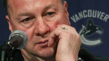Vancouver Canucks' general manager Mike Gillis listens to a reporter's question during a news conference in Vancouver, B.C., on Thursday May 14, 2009. The Canucks have nine unrestricted free agents and four restricted free agents. Goaltender Roberto Luongo, hard-nosed defenceman Willie Mitchell, and gritty forward Ryan Kesler are all entering the final year of their contracts. THE CANADIAN PRESS/Darryl Dyck (DARRYL DYCK)