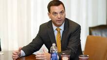 Ontario PC Leader Tim Hudak speaks during an interview with The Globe's editorial board on Oct. 25, 2013. As premier, Mr. Hudak would cut back the province's transit-building plans, and would cancel a raft of suburban LRTs in favour of extending Toronto's subway system. (Fernando Morales/The Globe and Mail)