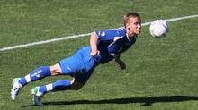 Montreal Impact midfield David Tiesto (7) heads the ball during the second half against the Fort Lauderdale Strikers at the Saputo Stadium. (Jean-Yves Ahern-US PRESSWIRE/Jean-Yves Ahern/US PRESSWIRE)