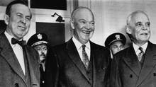 External Affairs Minister Lester Pearson, left, U.S. President Dwight Eisenhower, centre, and Prime Minister Louis St. Laurent are seen at a March 1956 conference in White Sulphur Springs, W.Va. (AP/AP)