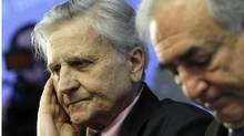 European Central Bank president Jean Claude Trichet, left, and IMF Managing Director Dominique Strauss-Kahn at a meeting in Brussels on Friday. (Virginia Mayo)