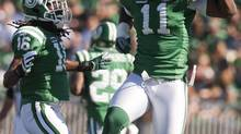 Former Saskatchewan Roughriders defensive end Odell Willis celebrate a sack (Liam Richards/The Canadian Press)