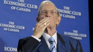 After his address to the Economic Club of Canada in October, 2008, Ted Rogers, founder of Rogers Communications Inc. blows a kiss to the audience.