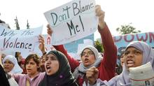 Egyptian women chant slogans during a protest demanding the military step down in Cairo, Egypt, Wednesday, Dec. 21, 2011. (Hossam Ali/Hossam Ali/AP)