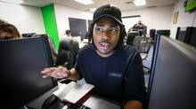 Alex Henry is a Humber College graduate with a film production company that's off to a good start. He spent his day Friday at Youth Employment Services in Toronto. (Glenn Lowson/The Globe and Mail)