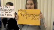 The students and staff of Bella Bella Community School protested the proposed Enbridge Pipeline that would bring supertankers filled with oil along the coast of the Great Bear Rainforest. (Framegrab/Framegrab)