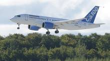 Bombardier's C Series commercial jet takes off on its first flight on Monday, Sept. 16, 2013 in Montreal. (Ryan Remiorz/THE CANADIAN PRESS)