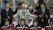 "Don Cherry, coach of Team Cherry, at the CHL Top Prospects Game in Halifax on Wednesday, Jan. 16, 2013. The 60th season of ""Hockey Night in Canada"" kicks off this weekend with twice as much Grapes and plans for a cross-country tour. (Andrew Vaughan/THE CANADIAN PRESS)"