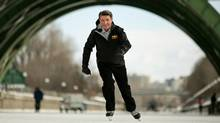 Gary Lunn, the minister of state for sport, skates on the Rideau Canal in Ottawa on Feb. 9, 2011. (Dave Chan/Dave Chan for The Globe and Mail)