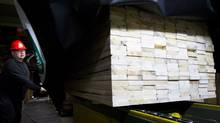 A worker at the West Fraser Timber sawmill in Quesnel, B.C. (JOHN LEHMANN/JOHN LEHMANN/THE GLOBE AND MAIL)