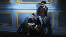 "Patrick Gemayel, left, and David Macklovitch from the Canadian electronic band ""Chromeo"" pose for a photo in Toronto on May 2, 2014. (Michelle Siu For The Globe and Mail)"