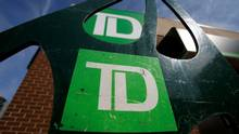 Toronto-Dominion Bank (TD) logos are seen outside of a branch in Ottawa, in this file photo. (© Chris Wattie / Reuters)