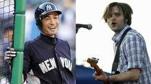 Yankees outfielder Ichiro Suzuki, left, and Ben Gibbard of Death Cab for Cutie. (Robert Sorbo / Mario Anzuoni/Reuters)