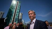 Former journalist and media executive Kirk LaPointe leaves a news conference after announcing he would run for mayor of Vancouver during this year's civic election in Vancouver, B.C., on Monday July 14, 2014. (Darryl Dyck for The Globe and Mail)