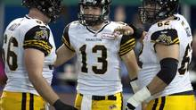 Missing on the impressive résumé of Marwan Hage's CFL career is a Grey Cup title, something that's now in reach for 10-year veteran as the Ticats prepare to face the Toronto Argonauts in the East Division final Sunday. (FRANK GUNN/THE CANADIAN PRESS)