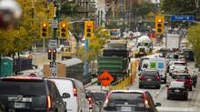 Vehicle traffic north and southbound at Front Street is slowed in Toronto recently because TTC track construction has temporarily eliminated one lane in each direction. (Peter Power/The Globe and Mail)