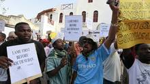 Residents and environmental activists participate in a demonstration against the construction of the proposed Lamu Port-South Sudan-Ethiopia (LAPSSET) project in Lamu island, Kenya, March 1, 2012. (Joseph Okanga/REUTERS/Joseph Okanga/REUTERS)