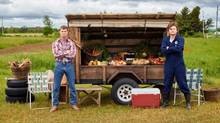 Jared Keeso, left, as Wayne and Nathan Dales as Daryl in Letterkenny, a series about a rural Ontario town that's divided into groups – the Hicks, the Skids, and the Hockey Players. (HO-CraveTV/THE CANADIAN PRESS)