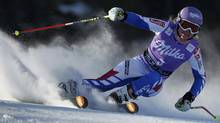 Tessa Worley of France competes during the women's alpine skiing World Cup giant slalom race at the Soldeu resort on Sunday. (ALBERT GEA)