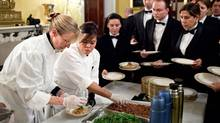 Executive chef Cris Comerford, second from left, works with staff at the White House to prepare a meal served during the Governors Dinner in 2011. (Pete Souza/The White House)