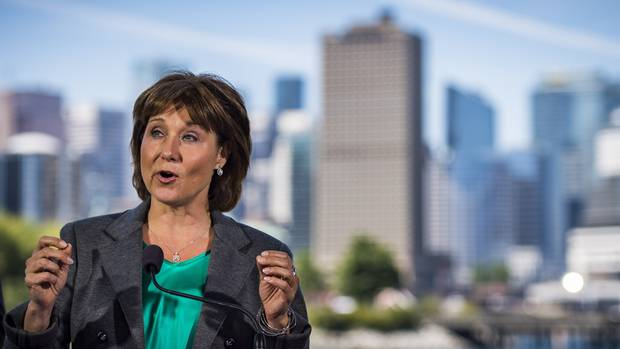 B.C. Premier Christy Clark speaks in Vancouver on June 29, 2016.
