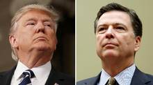 A combination photo shows U.S. President Donald Trump (L) in the House of Representatives in Washington, U.S., on February 28, 2017 and FBI Director James Comey in Washington U.S. on July 7, 2016. (Gary Cameron/REUTERS)