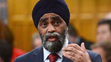 Minister of National Defence Minister Harjit Sajjan responds to a question during Question Period in the Hosue of Commons on Parliament Hill in Ottawa, on May 15, 2017. (Sean Kilpatrick/THE CANADIAN PRESS)