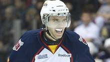 Barrie Colts defenceman Aaron Ekblad warms up before playing against the Oshawa Generals in regular season OHL hockey action in Oshawa, Ont., on Monday, Feb. 20, 2012. (NATHAN DENETTE/The Canadian Press)