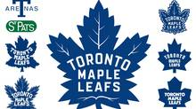 The new logo, middle, resembles the one the Maple Leafs wore from the 1938-39 season until 1967. Left, top to bottom: 1917-19, 1920-27, 1928-38, 1939-62. Right, top to bottom: 1963-67, 1967-70, 1970-2016.