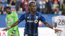 Montreal Impact's Didier Drogba celebrates after scoring against the Philadelphia Union on July 23, 2016. (Graham Hughes/The Canadian Press)