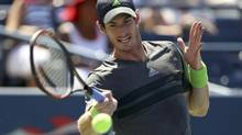 Andy Murray of Britain hits a return to Robin Haase of the Netherlands during their match at the 2014 U.S. Open tennis tournament in New York, August 25, 2014. (ADAM HUNGER/REUTERS)
