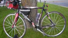 Blood can be seen on the bicycle belonging to a man who was shot and injured while taking part in an endurance race in central B.C. early on June 1, 2014. (RCMP photo)