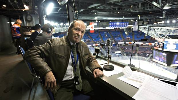 Announcer for the Edmonton Oilers, Mark Lewis pictured at Rexall Place in Edmonton Alberta, March 8, 2016.