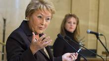 Quebec Premier Pauline Marois gestures during a news conference Jan. 22, 2013, in Quebec City. (Clement Allard/THE CANADIAN PRESS)