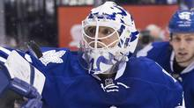 Toronto Maple Leafs goaltender Ben Scrivens makes a save during third period NHL hockey action against the Ottawa Senators in Toronto on Saturday February 16, 2013. (CP)