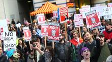 An anti-Trump rally is held on November 9, 2016 in Seattle, Washington. (Karen Ducey/Getty Images)