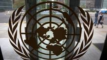 The United Nations logo is seen on one of the front doors at the U.N. Headquarters in New York, August 31, 2013. (Carlo Allegri/Reuters)