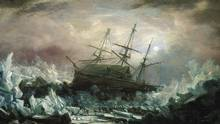 A painting depicts the HMS Terror in a perilous situation during an 1837 voyage in Arctic waters. (ADMIRAL WILLIAM SMYTH/NATIONAL MARITIME MUSEUM, GREENWICH, LONDON)