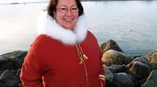 Sheila Watt-Cloutier stands on a breakwater in Iqaluit. (CHRIS WINDEYER/Chris Windeyer / The Canadian Press)