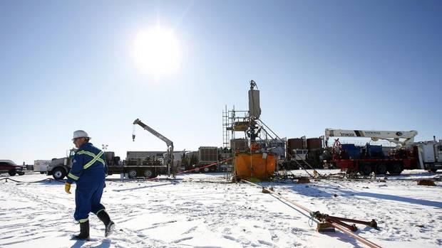 A hydraulic fracturing setup. Here, in this 2012 file photo, a fracking operation near Bowden, a town in central Alberta. (Jeff McIntosh for The Globe and Mail)
