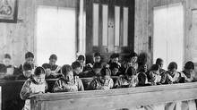 Study time at an Indian Residential School in Fort Resolution, Northwest Territories, date unknown. (Library and Archives Canada)