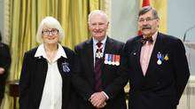 Bonnie Buxton and Brian Philcox are among this year's recipients of the Meritorious Service Medal. They were presented with the award on Friday for raising awareness of fetal alcohol spectrum disorder. (Sgt Ronald Duchesne, Rideau Hall/Sgt Ronald Duchesne, Rideau Hall)