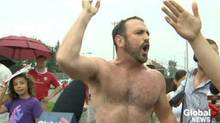 "Toronto teacher Joe Killoran, dubbed the ""topless jogger"" by a Global News headline, became a social-media sensation for confronting Mayor Rob Ford at a Canada Day parade. (GLOBAL NEWS/TWITTER)"