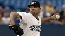 Ricky Romero of the Toronto Blue Jays throws a pitch against the Tampa Bay Rays during MLB action at the Rogers Centre August 29, 2011 in Toronto, Ontario, Canada. (Abelimages/Getty Images)