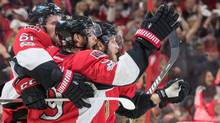 Senators right winger Bobby Ryan (9) celebrates his second-period goal with teammates during Game 6. (Marc DesRosiers/USA Today Sports)