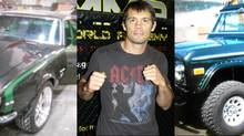 MMA fighter Rich Franklin flanked by his rides, a 1967 Chevy Camaro and a 1974 Ford Bronco. (Rich Franklin/Petrina Gentile for The Globe and Mail/Rich Franklin/Petrina Gentile for The Globe and Mail)