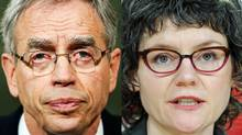 Natural Resources Minister Joe Oliver and NDP environment critic Megan Leslie are shown in a photo combination. (REUTERS and THE CANADIAN PRESS)